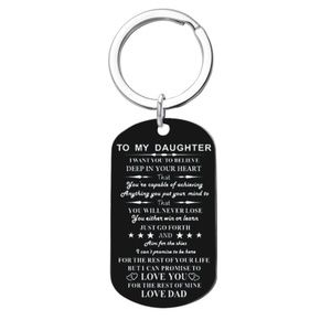 To My Daughter Love Dad Black Dog Tag Keychain